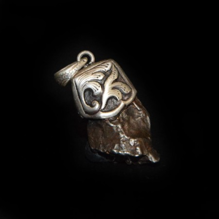 Meteorite Nugget Silver Repoussee Pendant