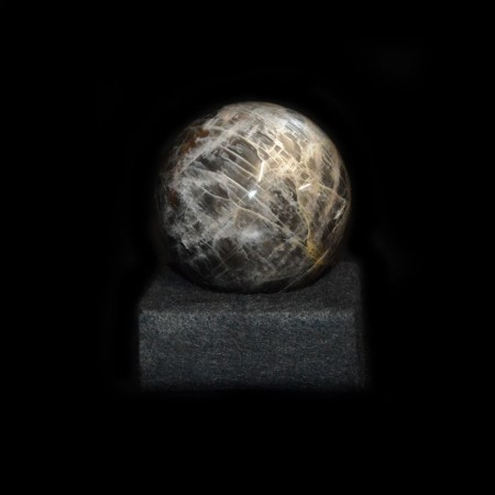 Black Moonstone Sphere with Stand