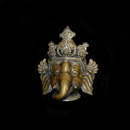 Antique Ganesha Bronze Silver Mask