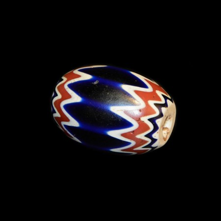 Antique large Chevron Glass Bead, 6 Layer