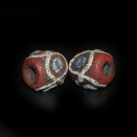 Matching Pair Ancient Islamic Glass Beads