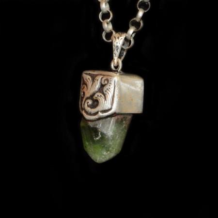Rare Terminated Peridot Crystal Silver Pendant