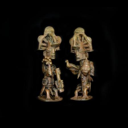 Pair of antique Yoruba Ekiti Brass Statues