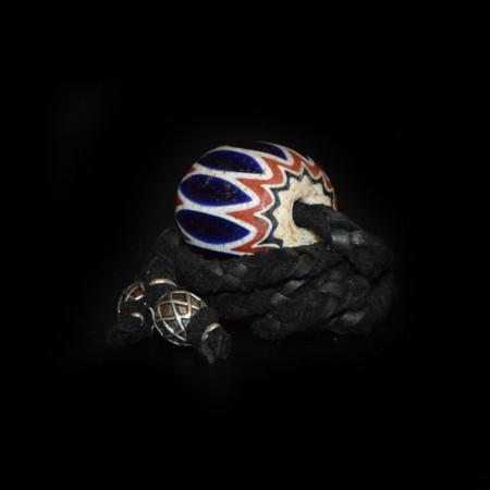 Antique six layer Chevron Glass Bead Necklace