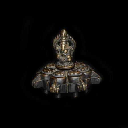 Antique brass Lotus Ganesha Container