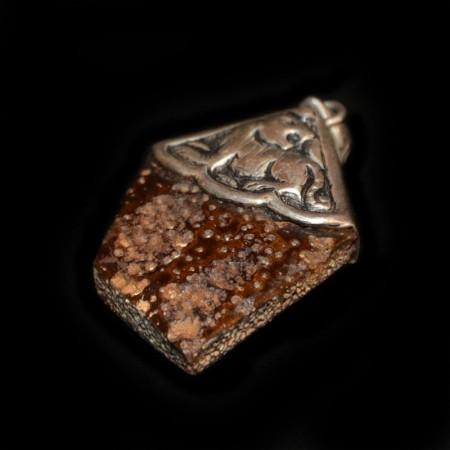 Giant Armadillo Fossil Scute Silver Pendant