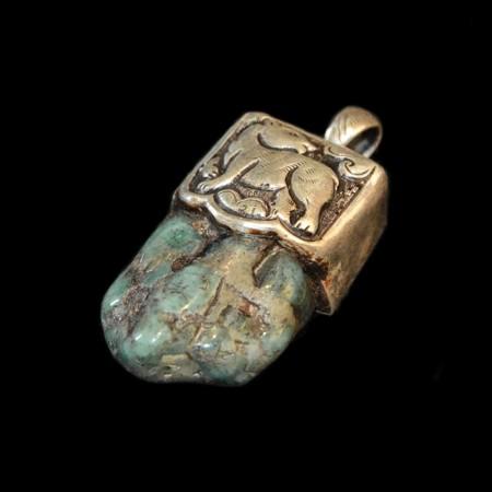 Emerald silver pendant