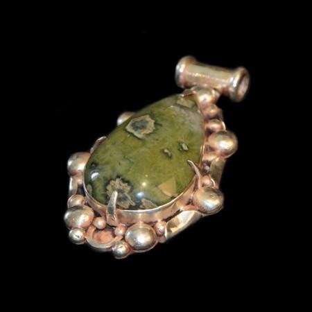 Large jasper silver pendant
