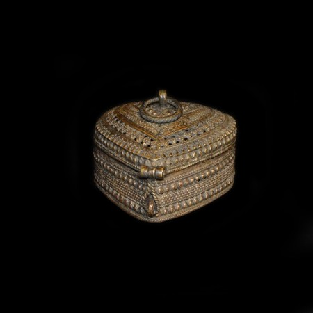 Vintage Mughal Style Jali Heart Brass Box
