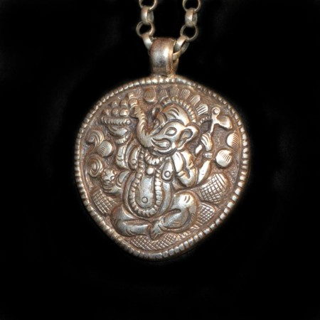 Large old Ganesha Silver Amulet