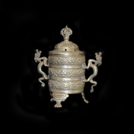 Tibetan Dragon Silver Incense Pot