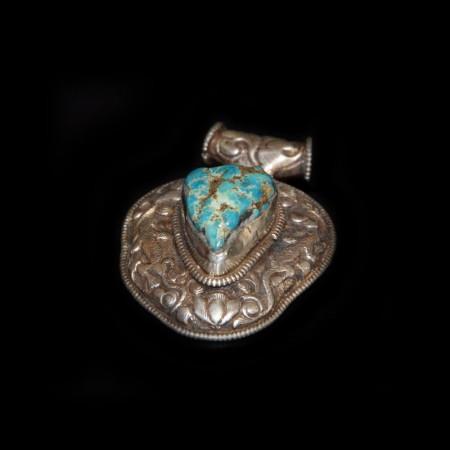 Tibetan Turquoise Silver Amulet