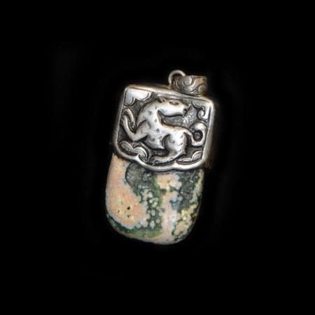 Orbicular Jaspis Silberanhänger