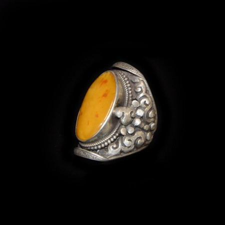Ethnic Amber Silver Ring