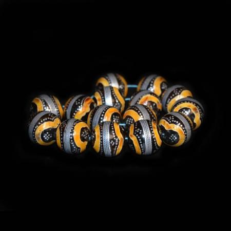 Kuka Inlay Amber Silber Beads