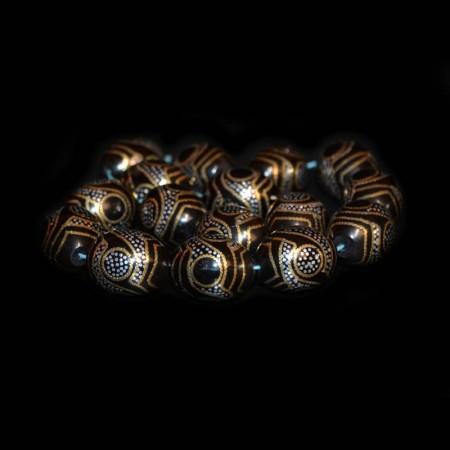 Kuka Beads with Silver-Brass Inlay Artwork
