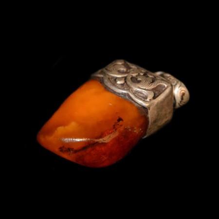 Antiker butterscotch Bernstein Silberanhänger