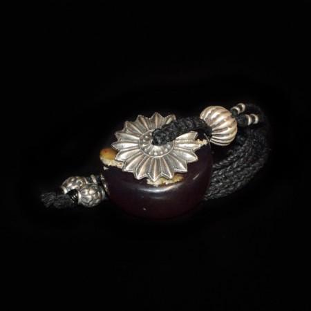 Grosse Amber Rondelle mit Silberperlen