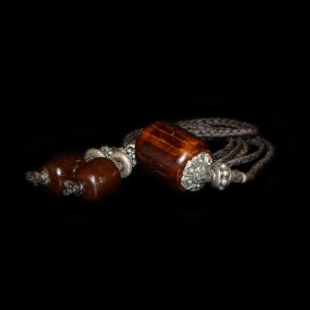 Antike simulierte Bernsteinperlen Silber Choker
