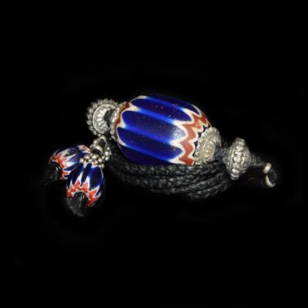 Antike venezianische Chevron Glasperle Choker Halskette
