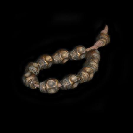 Antike tibetische Messing Totenköpfe
