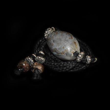 Neolithischer Bergkristall / Moos-Achat Choker Halskette