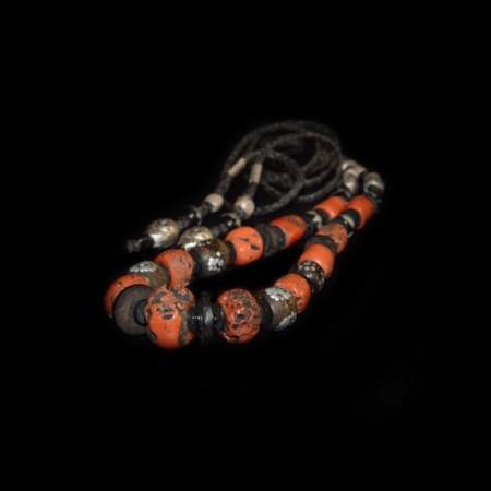 Antike Korallen Silber Halskette