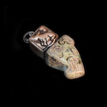 Mystischer Drachenkopf Silberanhänger