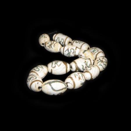 Alte Conch Shell Perlen mit Einlagen