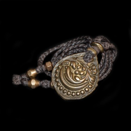 Antikes Hindu Bronze Blumen Amulett
