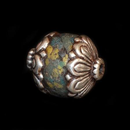 Seltene antike mehrfarbige Hebron Silber-Glasperle