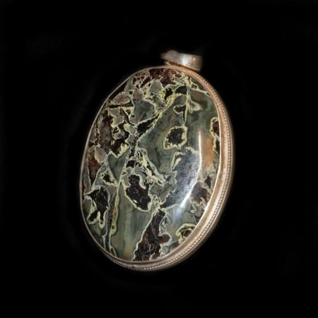 Grosses Jaspis Silberamulett