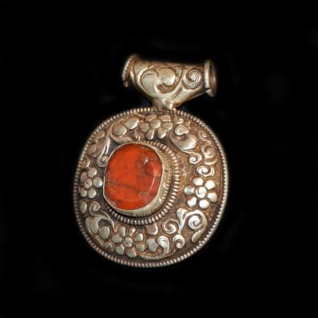 Antikes tibetisches Jaspis Silberamulett