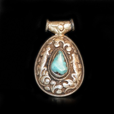 Antiker tibetischer Türkis Silberanhänger