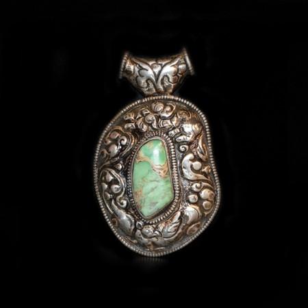 Grosser tibetischer Variscit Silberanhänger