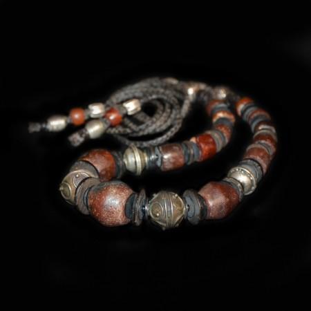 Antike Jaspis und Karneol Silber Kette