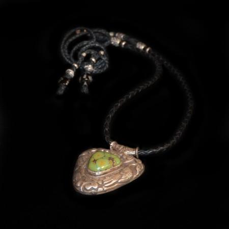 Grosser tibetischer Silberanhänger Lederband Halskette