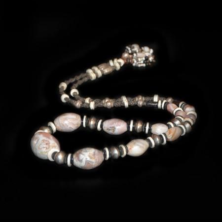 Antike pink-weisse Quartzperlen mit Silber Halskette