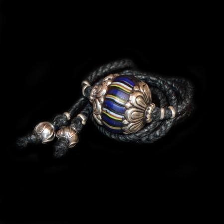Seltene in Silber gefasste venezianische King-Glasperle Choker