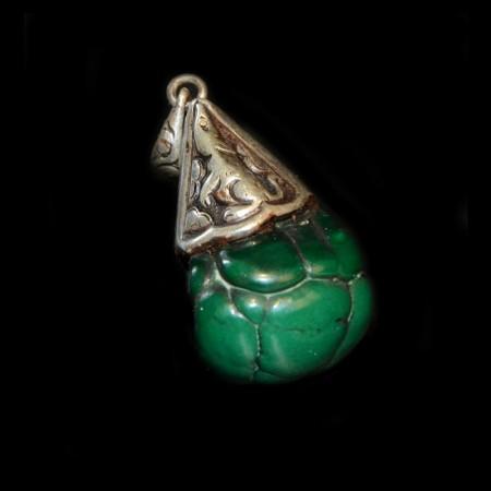 Malachite Brain Nugget Silver Pendant