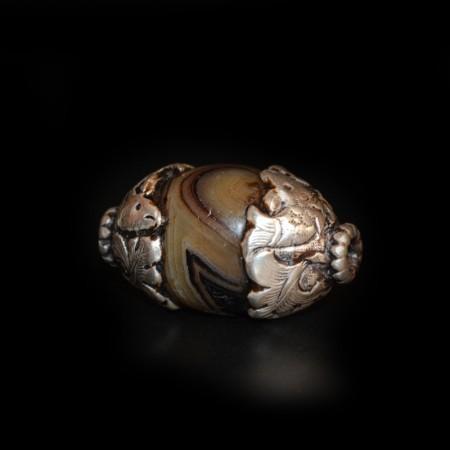 Tibetische Achat-Silber-Perle