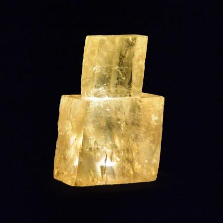 Zwei Kalzit Kristalle LED Licht