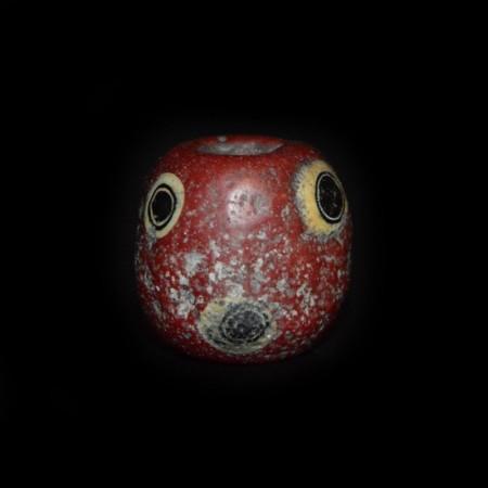 Seltene rote Islamische Augen-Glasperle