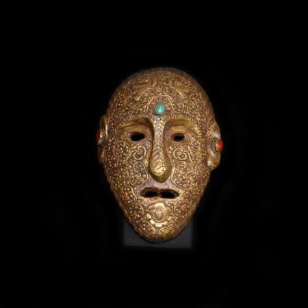 Schamanen Maske aus Holz und Messing