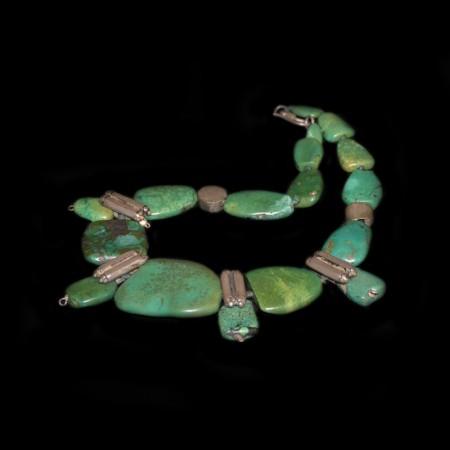 Antike ethnische Türkis Silber Halskette