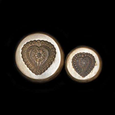 Paar antike Herz Bronze Schmuckformen