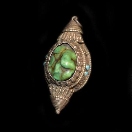 Antikes tibetisches Türkis Silber Amulet