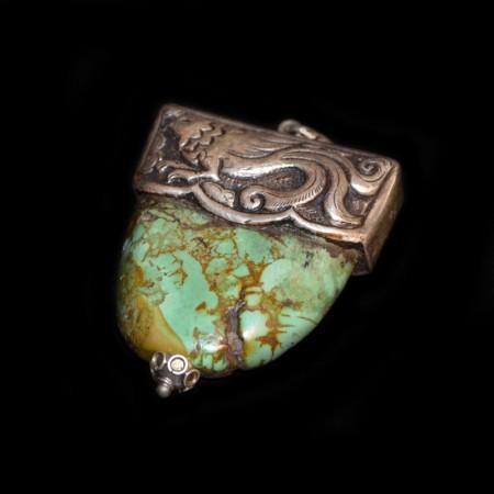 Riesiger antiker Türkis Silberanhänger