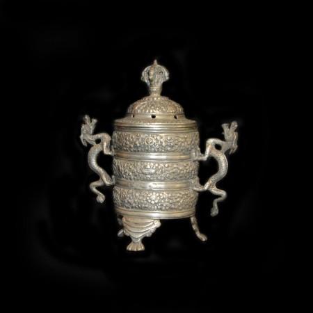 Tibetischer Drachen Silber Incense Pot